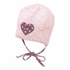 Baby Mädchen Mütze Wendemütze zum binden Herzen, rosa - 4401800