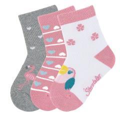 "Mädchen 3 Paar Söckchen Socken 3er-Pack ""Kakadu/Herzen/Flamingo"", weiß, koralle - 8322024"