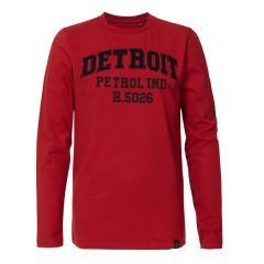 Jungen Langarmshirt Sweatshirt T-Shirt Petrol Ind. mit Aufschrift, rot - B-3090-TLR656