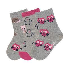 "Mädchen Söckchen Baumwoll-Socken im 3er Pack, silber mel. ""Tiermotive"" - 8421925"