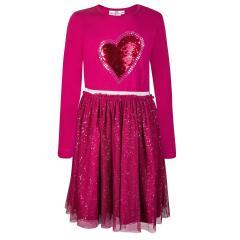 """Mädchen Kleid Winterkleid langarm mit Tüllrock Glitzer """"Paillettenherz"""", pink - 913168"""