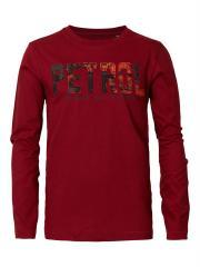 Jungen T-Shirt Langarmshirt mit aufgenähten Buchstaben in rot-schwarz, rot - B-FW18-TLR648