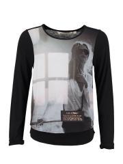 Langarmshirt Mädchen Mädchen-Motiv, schwarz - X62405b