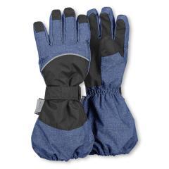 Jungen Stulpen-Fingerhandschuhe gefüttert wasserdicht mit Klett, blau - 4321820