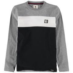 Jungen T-shirt Langarmshirt mit Brustlogo, dunkelgrau meliert - T03603