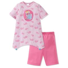 Mädchen Schlafanzug kurzarm Lillifee mit Elefant, rosa – 165788
