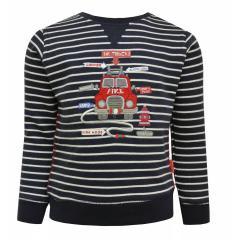 Baby Jungen Langarmshirt Shirt Sweater gestreift Feuerwehr, dunkelblaublau - 65211121