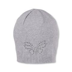 Mädchen Mütze, Strickmütze, grau Schmetterling - 1711910