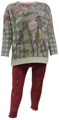Kids Mädchen Zweiteiler Pullover und Leggings, rot - 4728
