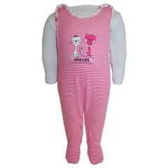 Baby Mädchen Strampler mit Katzenmotiv gestreift, weiß-pink - 53224206