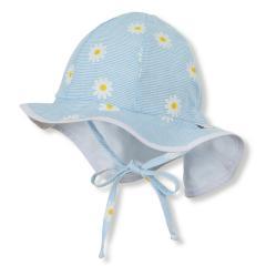 """Mädchen Baby Kinder Flapper Sommerhut zum Binden mit Nackenschutz, LSF UV-Schutz 15 Sommermütze """"Blumen"""", himmelblau – 1402023"""