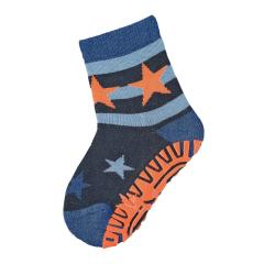 """Jungen Baby Fliesen Flitzer Air Anti-Rutsch-Socken mit rutschfester gefütterter ABS-Sohle neon, marine """"Sterne"""" - 8131902"""