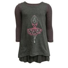 Mädchen Kleid Doppelkleid Langarm und Kurzarm Ballerina, grau - 973131