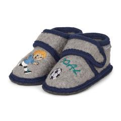 """Jungen Hausschuhe mit Klettverschluss Winterhausschuhe Wollschuhe mit fester gepolsterter Sohle für innen und außen """"Fußball"""", grau - 5401800"""