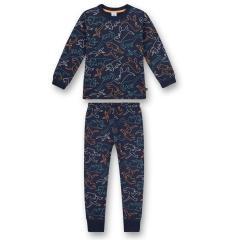 """Jungen Schlafanzug lang mit Taillenbund und farblich abgesetzten Rippbündchen """"Dino""""-Alloverprint, blau - 232842"""