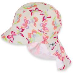 Mädchen Schirmmütze mit Nackenschutz, Sommermütze mit UV Schutz 50+, weiß, Schmetterlinge - 1421921