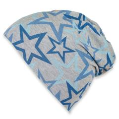 Jungen Sommermütze, Slouch-Beanie, grau-blau, LSF 50+ - 1521905