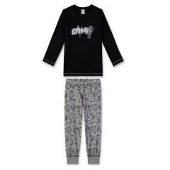 Jungen langer Schlafanzug Zweiteilig mit Helloween Motiv, grau-schwarz - 232199