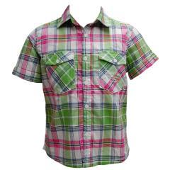 kurzes Jungenhemd Hemd Karo, grün