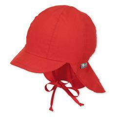 Mädchen Schirmmütze mit Nacken- und Ohrenschutz zum Binden, UV-Schutz 50+, einfarbig, rot - 1511410