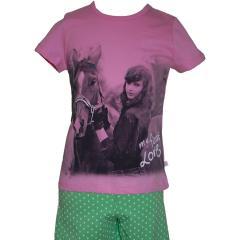 Kurzer Schlafanzug Mädchen Pferde, rosa