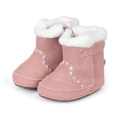 Baby-Schuhe Winterschuhe Mädchen Stiefel rutschfeste Sohle gefüttert mit Reißverschluss und Klettverschluss Wildlederoptik, rosa - 5301503