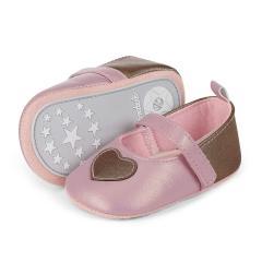 Baby Schuhe Mädchen Krabbelschuhe festlich Herzen, rosa - 2301808