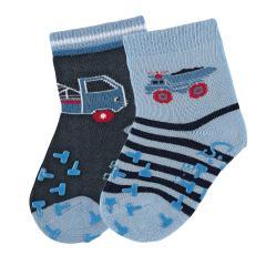 "Jungen Baby 2 Paar ABS-Krabbelsöckchen gefüttert Anti-Rutsch-Socken Doppelpack ""LKW/Abschlepper"", himmelblau/marine - 8012021"