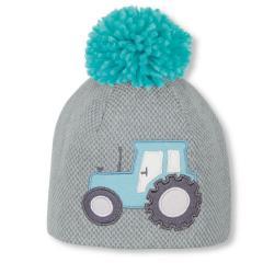 Jungen Baby Wintermütze Beanie Traktor Strickmütze mit Baumwollfleece-Futter und Bommel, türkis  - 4611906