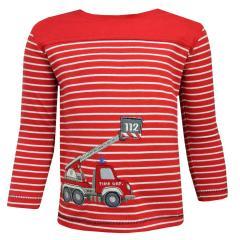 Baby Jungen Langarmshirt Shirt  gestreift Feuerwehr, rot - 6521123