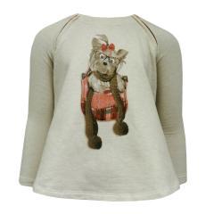 Sweater Mädchen Pullover Hunde Motiv, natur