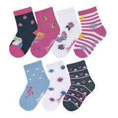 """Mädchen Baby 7 Paar Söckchen Socken 7er-Box """"verschiedene Motive"""", pink, marineblau, weiß - 8322052"""