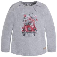 Mädchen Langarmshirt Shirt mit langen Ärmeln, Grau - 4049