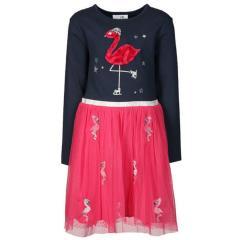 Mädchen Langarm Kleid- Dunkelblau und Pink mit Print ''Flamingo''-903136