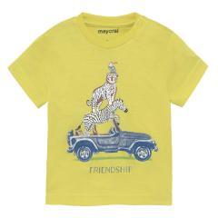 """Jungen Baby T-Shirt kurzarm 100% Bio-Baumwolle """"Friendship"""", gelb1002"""