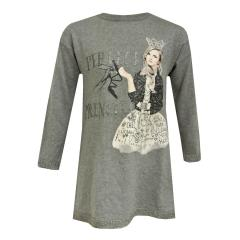 Mädchen Teens Kleid langarm Prinzessin-Motiv, grau