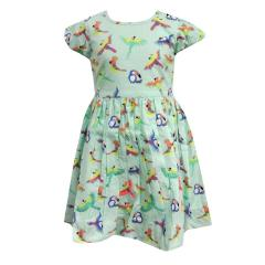 Mädchen Sommerkleid mit Vögel, grün - 971504