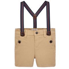 Mayoral Jungen Kurze Hose Bermuda mit abnehmbaren Hosenträgern, beige - 1.244