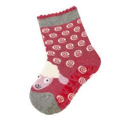 """Mädchen Baby Fliesen Flitzer Soft Vollplüsch Anti-Rutsch-Socken gefüttert mit ABS-Sohle, beerenrot mel. """"Schaf"""" - 8141912"""