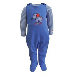Baby Jungen Strampler mit Shirt und Elefantmotiv, dunkelblau