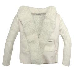 Mädchen Strickjacke Sweatjacke festliche Jacke mit Fell, beige