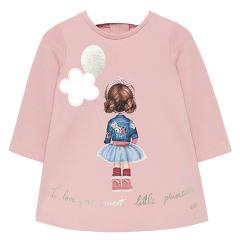 """Baby Mädchen Kleid langarm Winterkleid mit Reißverschluss und Rüschendetails, rosa """"Mädchen"""" - 2.920"""