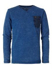 Jungen T-Shirt Langarmshirt Used-Look mit Brusttasche, blau - B-FW18-TLR604
