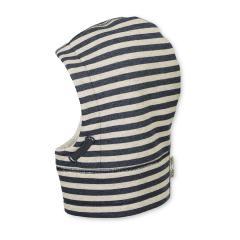 Mädchen Jungen Mütze Schalmütze Wintermütze gestreift, marineblau - 4621961