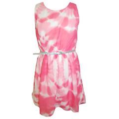 Mädchenkleid Festkleid mit Gürtel gemustert, weiß-pink