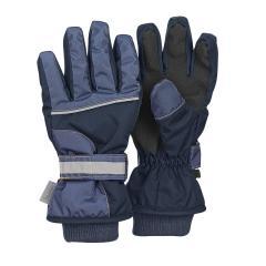 Jungen Fingerhandschuh Thermo-Handschuh mit reflektierendem Klettverschluss wasserdicht, marine - 4321810-300
