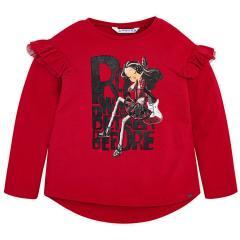 Mädchen Shirt mit langen Armen und Mädchenmotiv, rot - 4.050r