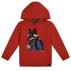 """Jungen Sweater Sweatshirt langärmlig mit Kapuze """"Wolf"""", orange - V05660"""