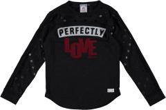 Mädchen Langarmshirt Perfectly Love, schwarz - RJG-73-231