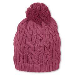 Mädchen Strickmütze Baumwollmütze Wintermütze mit Baumwollfleece-Futter und Bommel einfarbig, helllila - 4701927